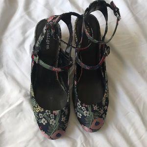 Indigo Road Floral Tapestry Strappy Heels